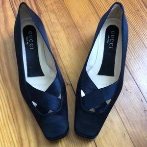 Gucci Tom Ford Black Satin Ballerina Pumps 7.5
